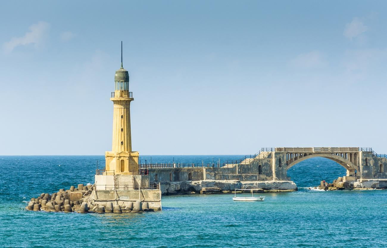 Alexandra lighthouse on the coast of Egypt