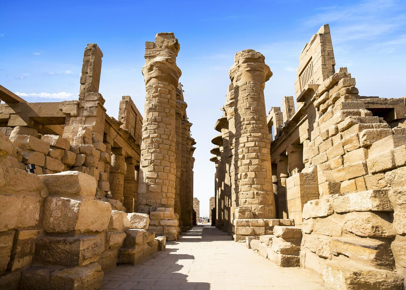 Walking through the Karnak temple when visiting Luxor in Egypt