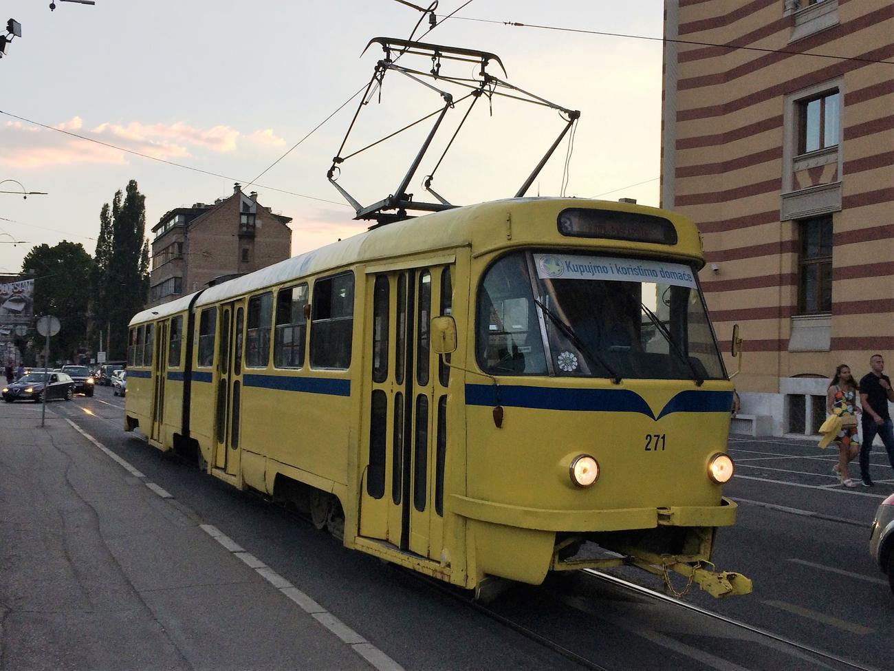 Sarajevo tram at dusk