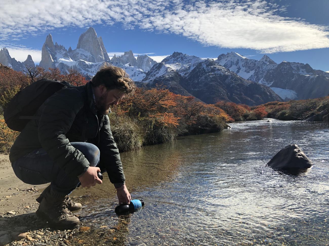 Refilling a Water to go Bottle in Parque Nacional de los Glaciares