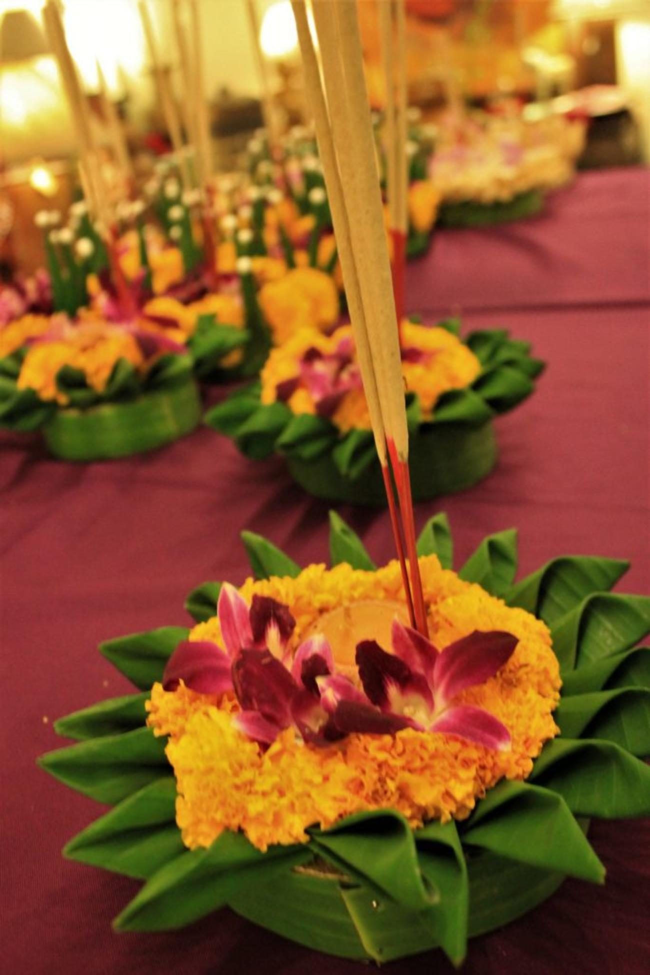 Krathongs are typically made from banana tree wood, flowers, leaves, incense and candles
