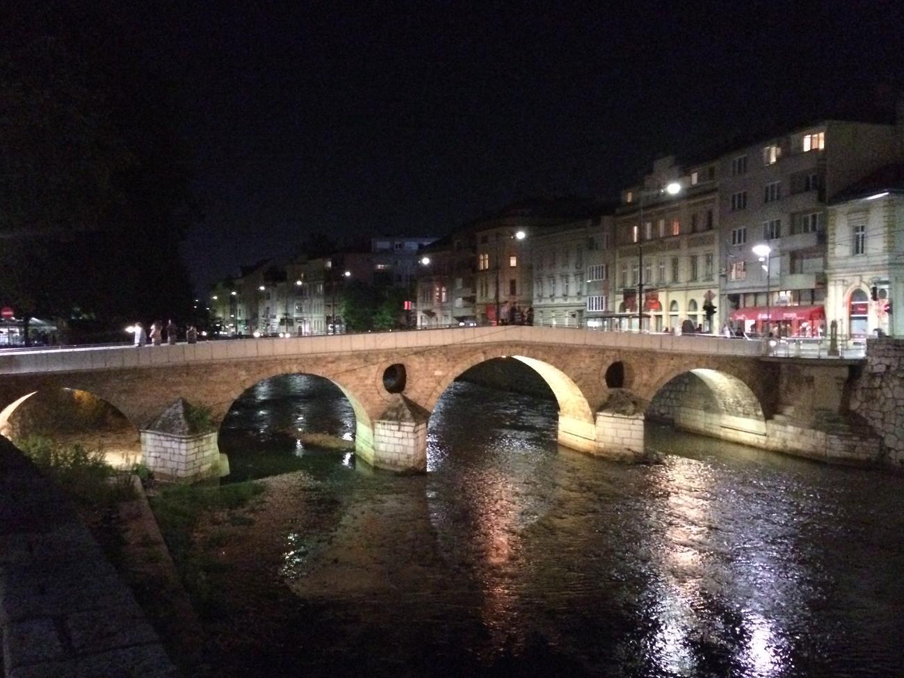 Latin bridge at night