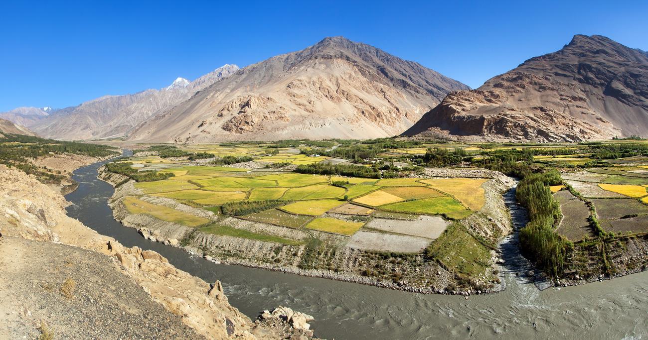 Fields around Panj River, Afghanistan