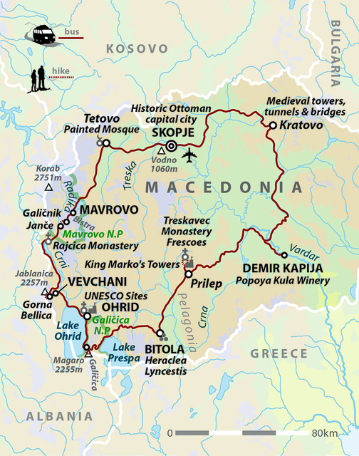 Walking in North Macedonia: Mountains, Lakes & Wine