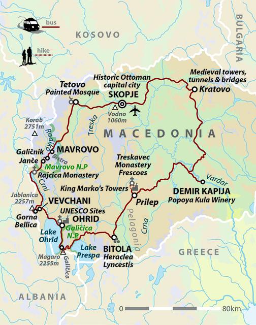 Walking in North Macedonia: Mountains, Lakes & Wine