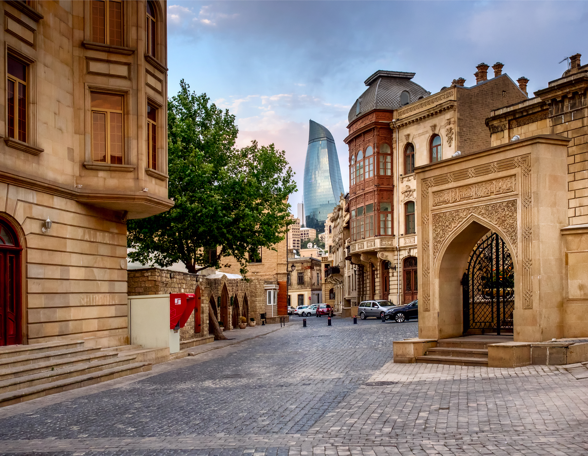 BAKU, AZERBAIJAN - JULY 24 Icheri Sheher (Old Town) of Baku, Azerbaijan, on July 24, 2014, with great modern architecture (DT)
